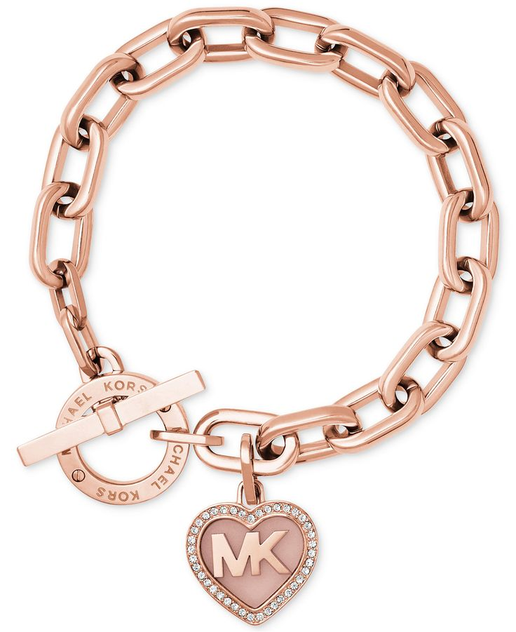 Michael Kors Rose Gold-Tone Pavé Logo Heart Toggle Bracelet - Jewelry & Watches - Macy's