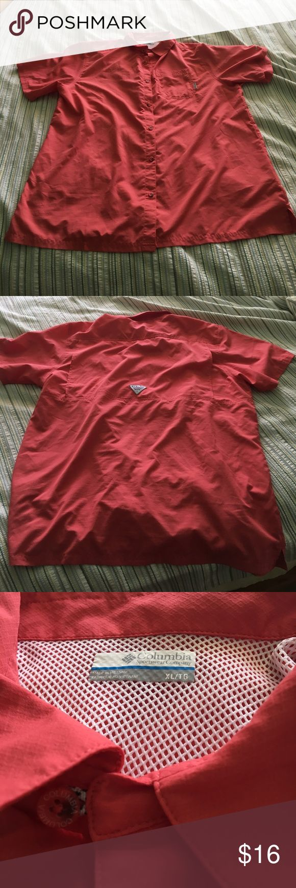 Columbia PFG Shirt Name:Columbia PFG shirt Condition:9/10 Size:Extra Large Color:Salmon •• I WILL ACCEPT OFFERS IF THEY ARE REASONABLE(MOST ITEMS ARE NEGOTIABLE) •• Other:Great Casual Buttondown that you can wear almost anywhere. Very great quality. •• IF YOU BUY 2 OR MORE OF MY ITEMS THAN YOU WILL GET 15% OFF DISCOUNT Columbia Shirts Casual Button Down Shirts