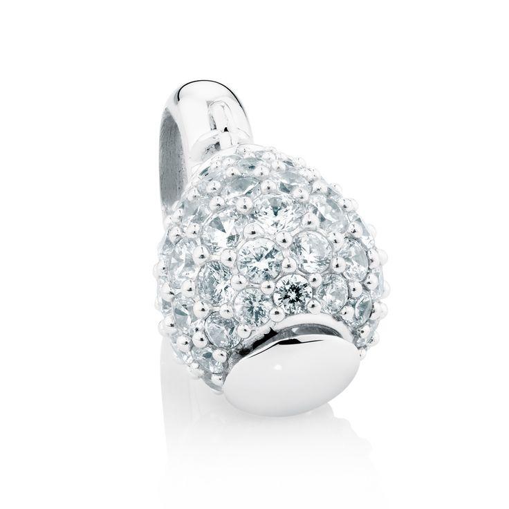 Sterling silver cubic zirconia charm (12871308) #wildhearts #emmaandroe