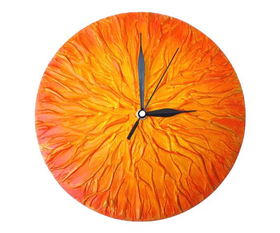 Sun Clock Orange Clock ART WALL CLOCK Unique wall by PilipArt