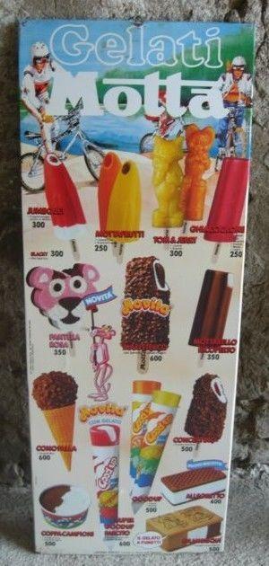 Tabella gelati insegna motta lire prezziario latta pantera rosa gelato cartello