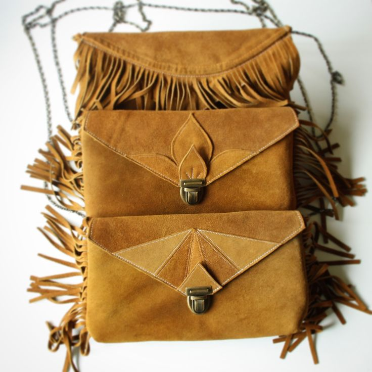 suede clutches made from a vintage coat, from Barbara + Cecile Handbags