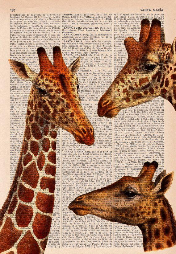 Giraffen vergadering woordenboek boek afdrukken van PRRINT op Etsy