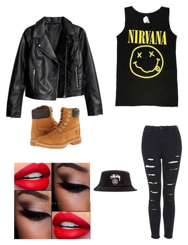 """""""What to wear at a concert"""" by ashleycagauan on Polyvore featuring Timberland and Stussy"""