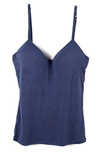 おすすめ SODIAL(R)女性 ブラパッド付き タンクトップ キャミソール ダークブルーM