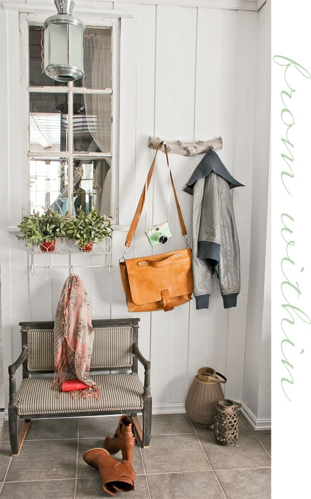 Love the coat rack! via Stine Home - Life in the country