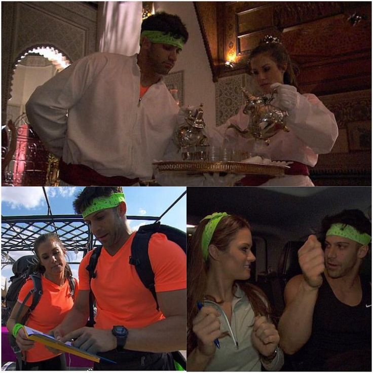 Former WWE Diva Brooke Adams (TNA Knockout Brooke Tessmacher) and her boyfriend Rob Strauss (Robbie E) on CBS reality show The Amazing Race, where they are known simply as the wrestlers #WWE #TNA #wwecouples