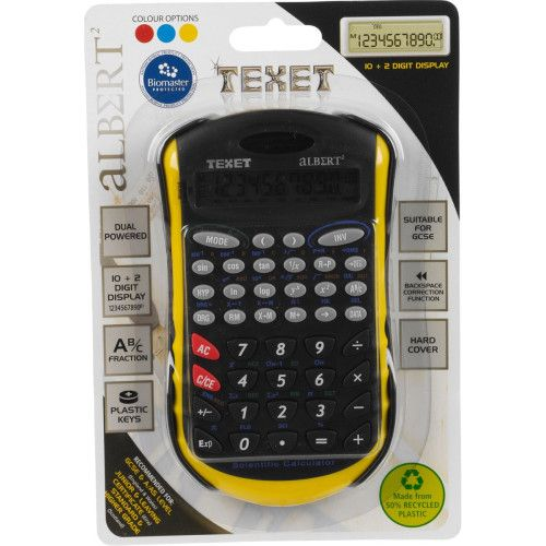 Buy Texet ALBERT2 12 digit solar and battery powered best scientific calculators with Shopattack.in.  The yellow colored calci has protective cover and full function memory. Get the calculator to lessen the burden of your scientific task. http://goo.gl/El46Wv