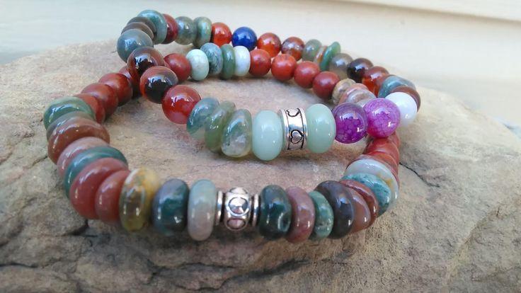 Agate Stone Stretch Bracelet, Stackable, Artisan Boho, Cowboy Chic, Silver Accents by CottageChicBracelets on Etsy