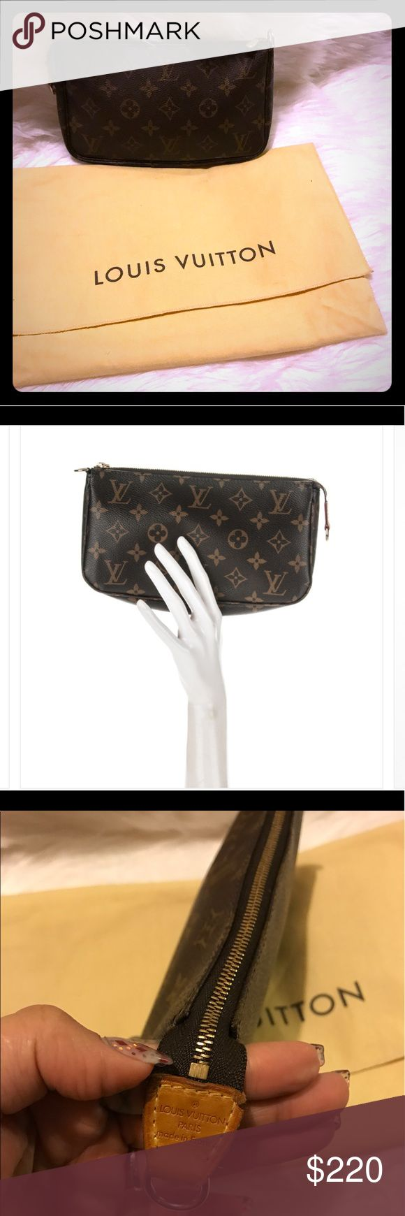 🌸💕✨Louis Vuitton pochette✨ ✨🌸beautiful 💯authentic Louis Vuitton monogram Pochette. Made in France date code Vi0021 🌸in good preowned conditions. With honey patina color on leather pice. Dos not come with the leather strap just the Pochette. This beauty comes with dust bag. Sorry no trades. 😊 Louis Vuitton Bags Cosmetic Bags & Cases