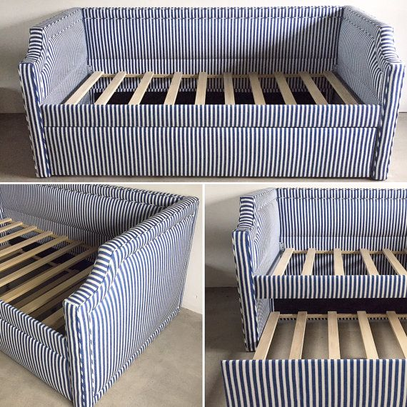 Custom upholstered bed- design your own in a fabric to suit your space! This style has curved arms and inset piping on ALL sides. The extra detail emphasizes the lines of the bed and adds just a little more oomph to the piece! Would look stunning in a patterned fabric with a solid piping for a pop of color (and fun!).  This daybed is made for a twin size mattress and has a back side that is the same height all the way around. Contact us for pricing for other sizes.  This version has a…