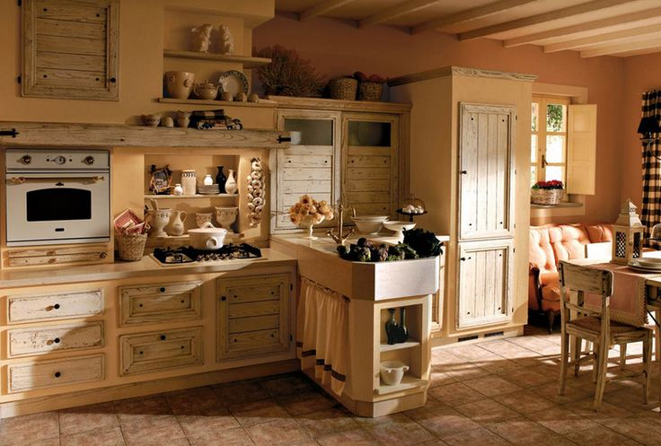 cucina legno chiaro con divano - Arredamento Shabby | Kitchen ...