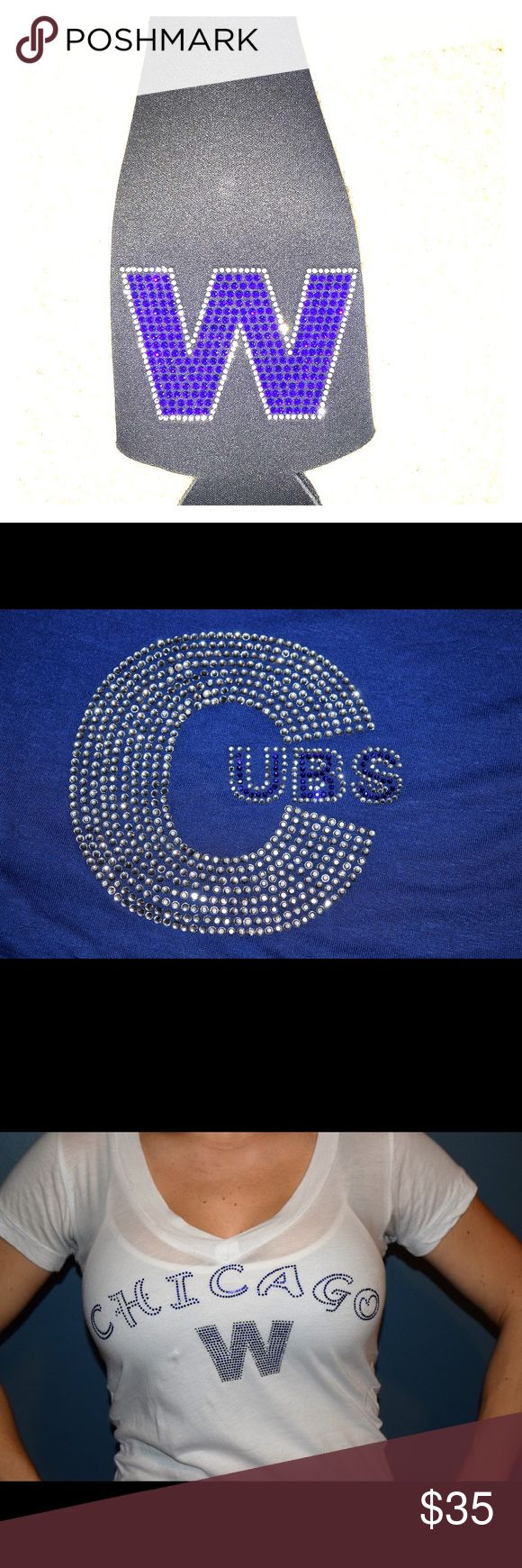 """Customized cubs apparel I can take any image mascot or wording and turn it into crystals then apply to your choice of garment.   Hats ,shirts ,cup koozies ,bags etc.. let me help you  """"SPARKLE"""" with customized bling. Other"""