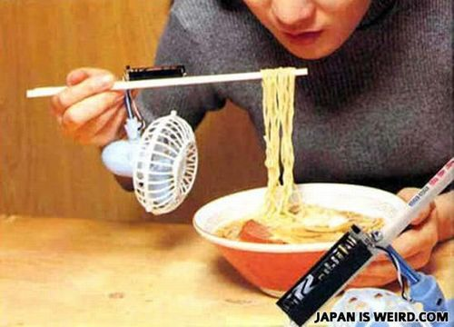 You don't have to risk burning your mouth on hot noodles ever again. Nor do you have to sit and wait impatiently for your meal to cool. You simply need the right chopsticks. Just don't get your fingers caught in the fan. Or your noodles. Or your tongue. Bon appétit!  [via Japan Is Weird]
