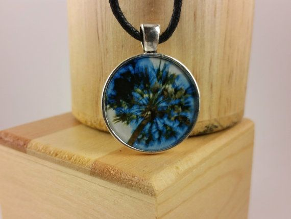 Florida Palm Tree at Temple Bezel Pendant by HalfwayUpTheStairs