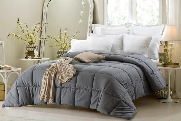 "Super Oversized-High Quality-Down Alternative Comforter- Fits Pillow Top Beds - Grey -Super Oversized Queen: 92""x 96"" / Super Oversized King: 110""x 96"" -Generously Oversized to fit Pillow Top Mattresses - Factory Direct Assuring You The Best Pricing! -Microfiber Shell - Microfiber defers pilling, dust, and pollen making this comforter perfect for people who suffer from allergies. - Microfiber does not pill and is wrinkle resistant - 100% Polyester Fill - Holds up we..."