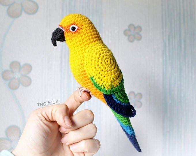 Amigurumi Blau und Gelb Ara/Papagei häkeln baby dusche haus zimmer ... | 540x680
