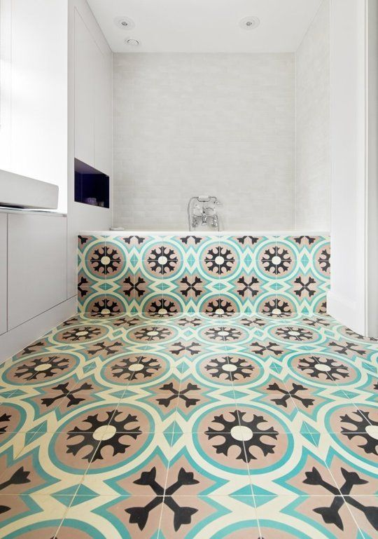 bold patterned bath tiles — Joshua & Rachel's Notting Hill Home | Apartment Therapy