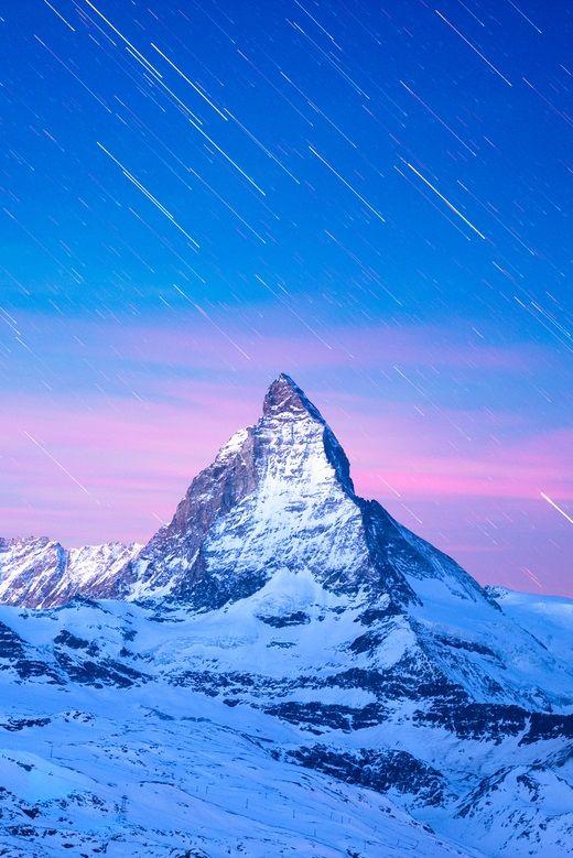 Falling Stars over Matterhorn, Switzerland