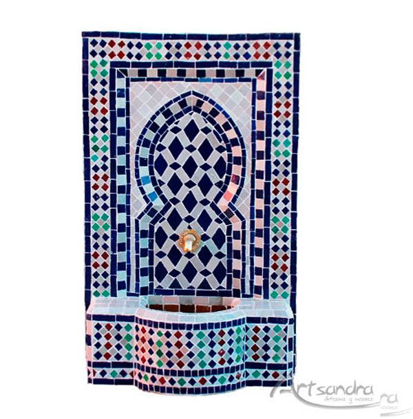 Fuente árabe elaborada  artesanalmente en (zellige)