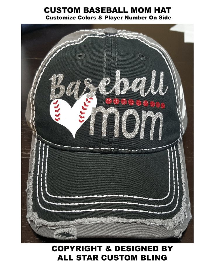 Glitter Baseball Mom Hat, Baseball Mom Distressed Hat, Mom Baseball Hat, Custom Baseball Hat, Personalized Baseball Mom Hat by AllStarCustomBling on Etsy