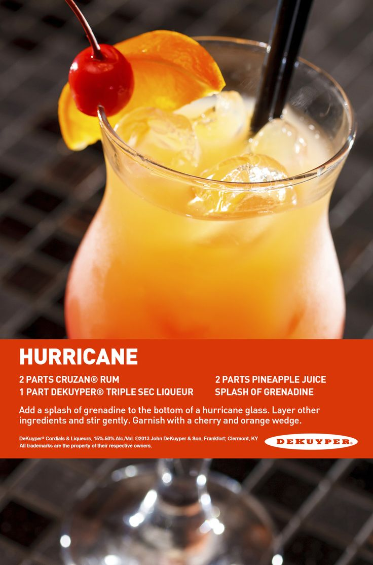 Hurricane drink 2 parts cruzan rum 1 part Dekuyper triple sec liqueur  2 parts pineapple juice Splash of grenadine