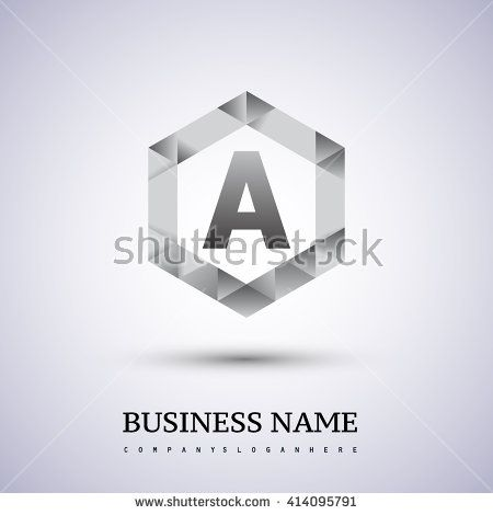 A Letter logo icon design template elements on hexagonal. - stock vector