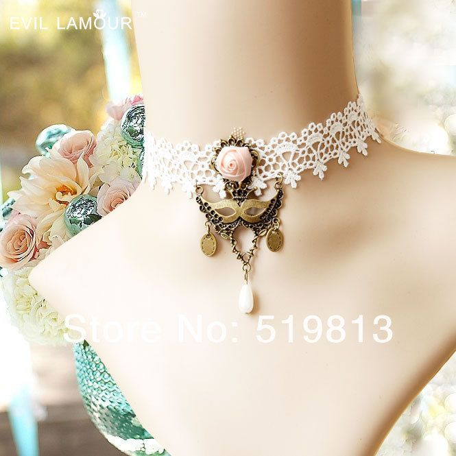 Симпатичные ожерелье винтаж готическая лолита маска королева старинные белые кружева ожерелье женщина ложно воротник complementos де mujer купить на AliExpress