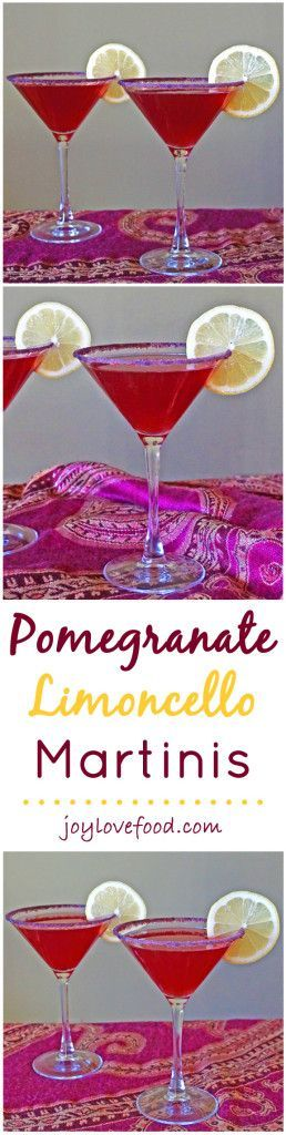 Pomegranate Limoncello Martinis - these pretty, purple-red hued martinis are perfect for Valentine's Day, girls' night, a cocktail party or a festive occasion anytime.