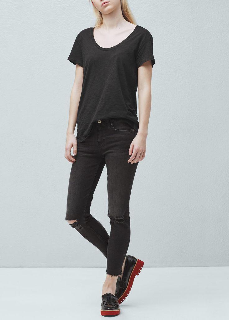 Melert t-skjorte i bomullsblanding - T-skjorter for Damer | MANGO Norge
