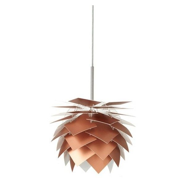 Dyberg Larsen XS Pineapple Pendant Lamp - Copper Look (425 ILS) ❤ liked on Polyvore featuring home, lighting, ceiling lights, pineapple lamp, pineapple shaped lamps, copper hanging lights, white pendant light and copper lamp