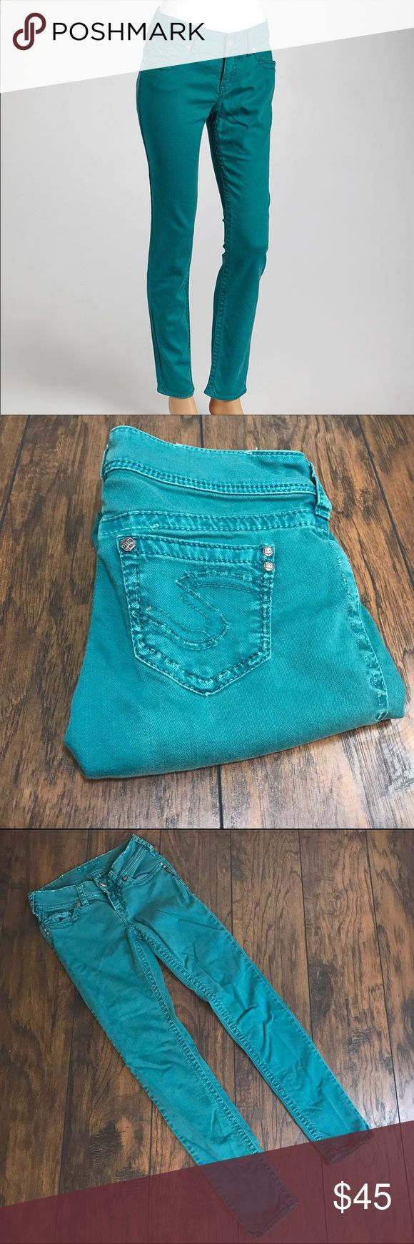 💕$22💕Teal skinny jeans Suki skinny jeans in teal. 31 inch inseam Silver Jeans Pants Ankle & Cropped