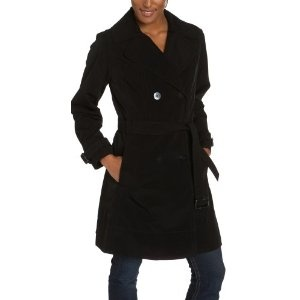 Click on the image for more details! - Liz Claiborne Women's Snaux Silk Double Breasted Notched Collar Trench With Belt And Zip Out Warmer, Black, Medium (Apparel)