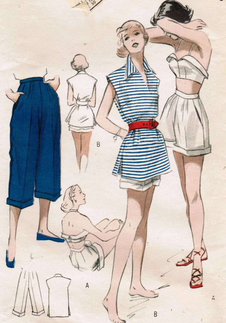 1950s Butterick 5265 Vintage Sewing Pattern Misses' Shorts, Bra Top,