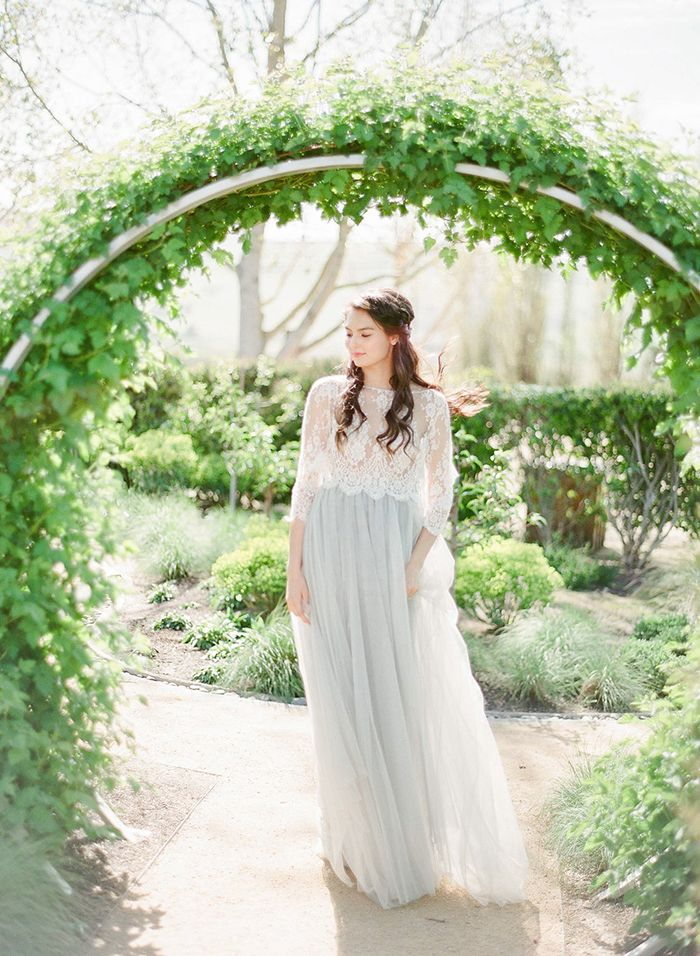 Romantic Bridal Separates in Gray Tulle and Lace    #weddings #weddingideas #winecountry #fineartweddings #weddingceremony #bride #bridalseparates #bohemianbride