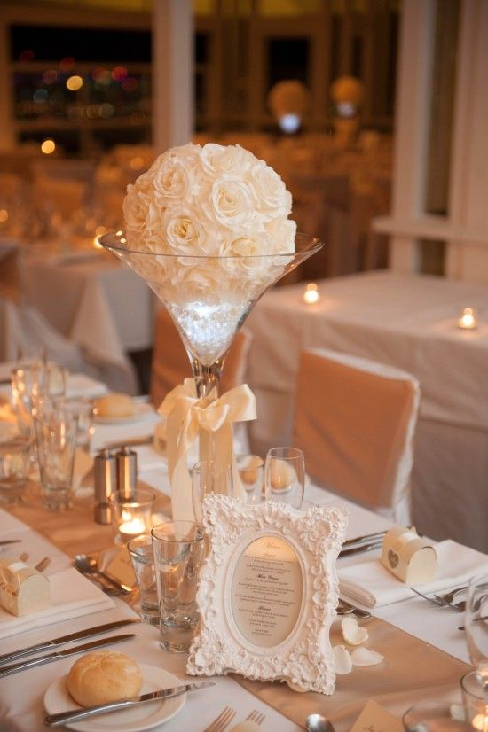 Centerpiece with the thank you note or table number in frame