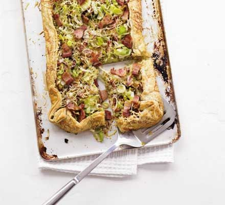 Leek, cheese & bacon tart   http://www.bbcgoodfood.com/recipes/12746/leek-cheese-and-bacon-tart