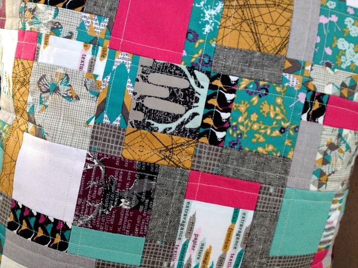 Disappearing nine patch cushion, Neon Pop by Forest Poppy, featured in Love Patchwork and Quilting magazine