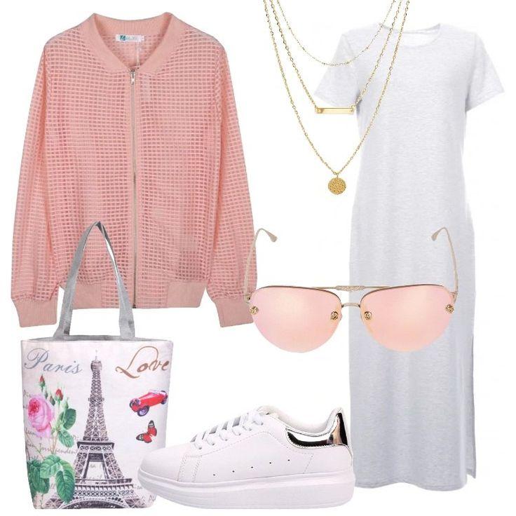 Un+outfit+urban+pratico+e+grazioso:+vestito+t-shirt+lungo,+grigio+chiaro+mélange,+scollo+tondo,+spacco+laterale,+abbinato+a+giacca+bomber+con+motivo+a+rete+rosa+chiaro,+con+zip.+Sneaker+bianca,+con+plateau+e+tallone+metallizzato,+fintapelle,+shopper+bianca,+con+stampa+colorata,+chiusa+con+zip,+occhiali+da+sole+rosa+con+stanghette+decorate,+collana+multifili+dorata+con+charms.