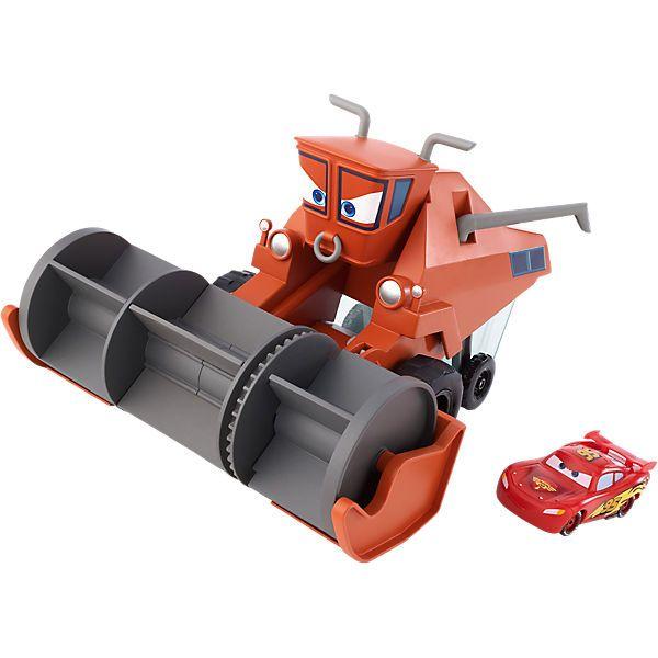 """Mit Frank ist nicht zu spaßen! <br /> Diese Riesenausführung des Mähdreschers sorgt dafür, dass die bekannte Traktorschreck-Szene aus dem Disney-Pixar-Film """"Cars"""" mit innovativem Farbwechselspiel verbunden werden kann. Frank ist ganz wild darauf, jedes Fahrzeug zu verfolgen, das ihm in die Quere kommt. Schnappt er sich einen der Übeltäter, landet dieser in einer durchsichtigen Farbwechselkammer voller Wasser. Vor den Augen des Kindes wechselt das Lieblingsfahrzeug nun seine Farbe. ..."""