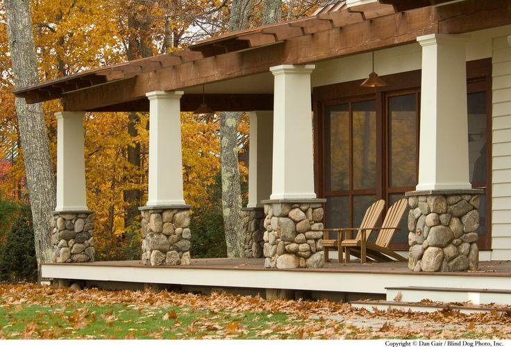 Craftsman Porch with Pathway, Wrap around porch, River Rock - Rio Grande