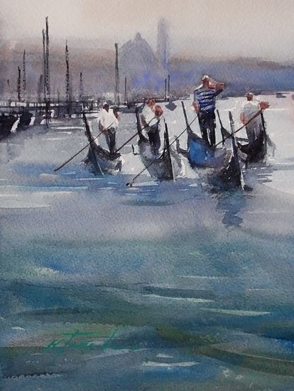Four Gondoliers, Venice, Italy by Keiko Tanabe Watercolor ~ 8 x 6 inches (20 x 15 cm)