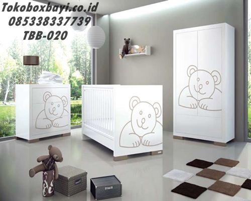 Tempat Tidur Bayi 1 set Minimalis Beruang- JUal Kamar Set Bayi meliputi Box Bayi, Babay Tafel, Lemari Baju Bayi Gantung Harga Murah Model Terbaru