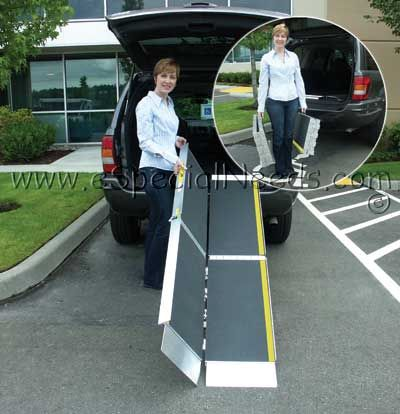 TRIFOLD Advantage Series: A portable ramp that allows wheelchairs and scooters to access vehicles, raised landing, and steps.