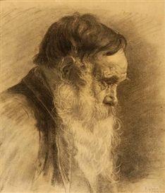 Nikolaos Gyzis - Man with beard, charcoal on paper on MutualArt.