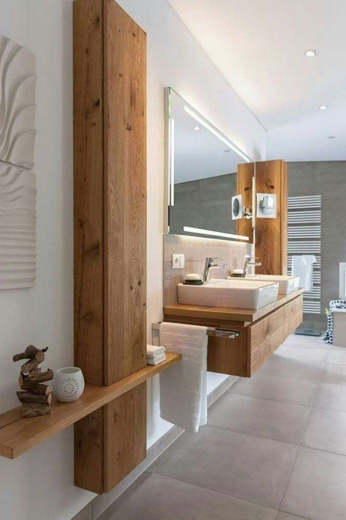 Bad Wei Es Holz Modern Gem Tlich Modernes Badezimmer Bad Kochen Badezimmer Modernesbade In 2020 Bathroom Decor Modern Master Bathroom Rustic Bath