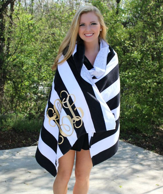 Monogram Beach Towel Stripe Cabana Personalized Glitter Towel makes a perfect bridesmaid gift