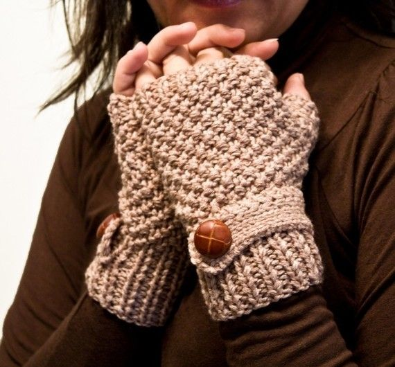 Knit fingerless gloves mittens in beige with a strap