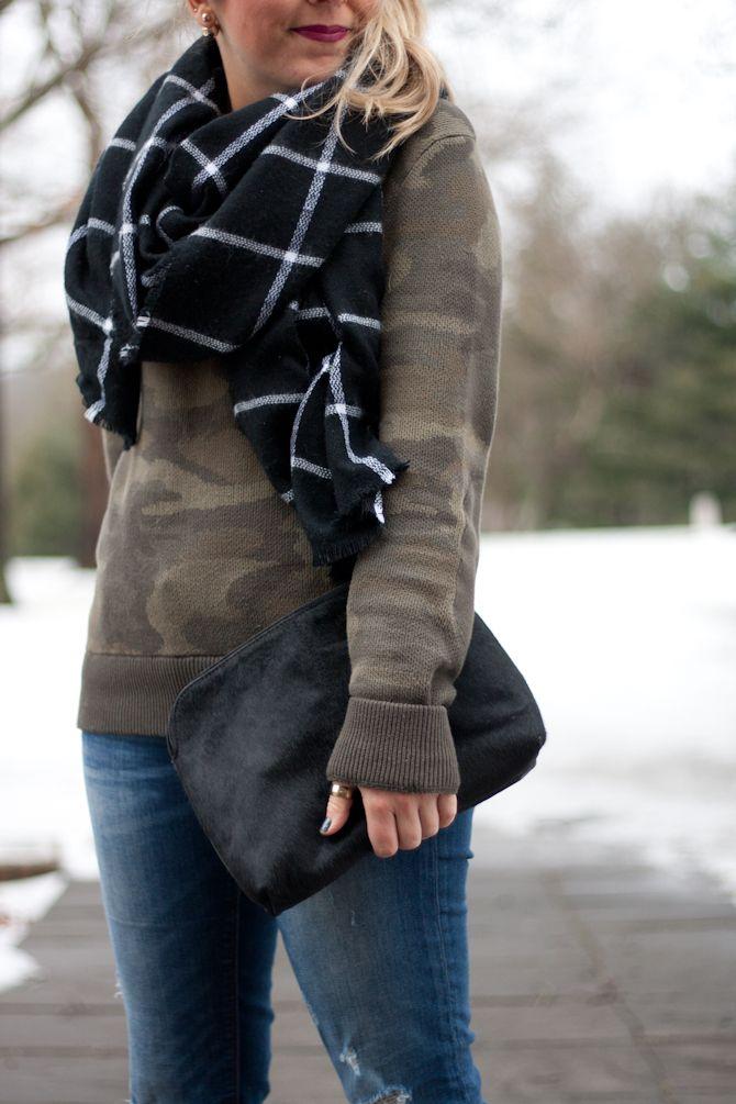 Camo Sweatshirt   Black and White Blanket Scarf   Pearls & Twirls Life & Style Blog