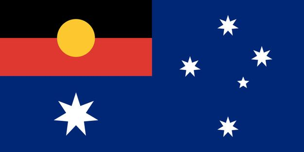 The existing Australian flag with the Aboriginal flag replacing the Union Jack.